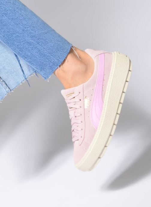 Trainers Puma Suede Platform Trace Jr Pink view from underneath / model view