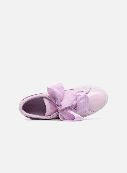 Trainers Puma Basket Heart Stars Pink view from the left