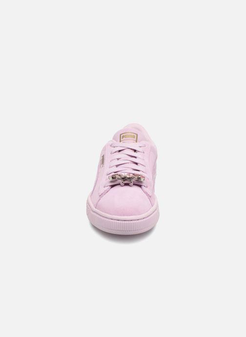 Sneakers Puma Jr Suede Jewel Rosa modello indossato