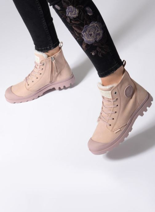 Stiefeletten & Boots Palladium Pampa Hi Zip W rosa ansicht von unten / tasche getragen