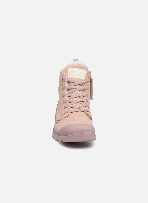Bottines et boots Palladium Pampa Hi Zip W Rose vue portées chaussures