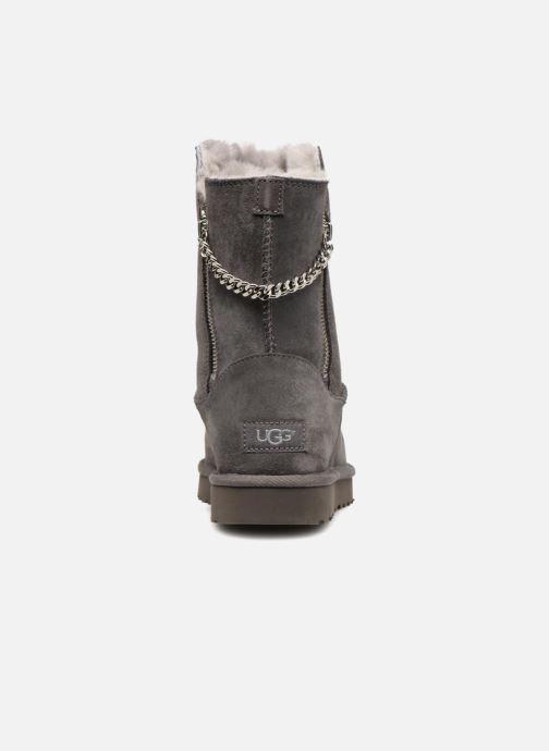 Bottes UGG W Classic Short Sparkle Zip Gris vue droite