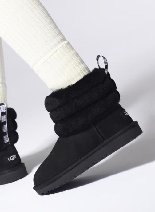 514a71a6449 UGG W Fluff Mini Quilted (Black) - Ankle boots chez Sarenza (339782)