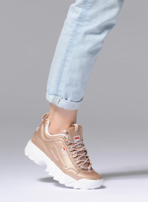 Baskets FILA Disruptor Metal Or et bronze vue bas / vue portée sac