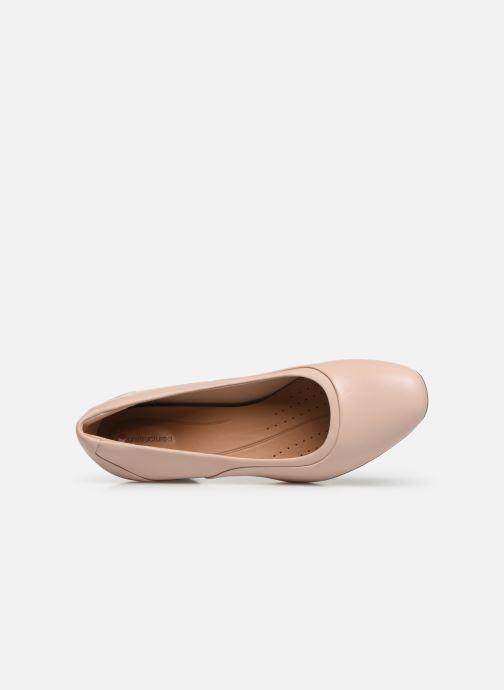 Zapatos de tacón Clarks Unstructured Un Cosmo Step Rosa vista lateral izquierda