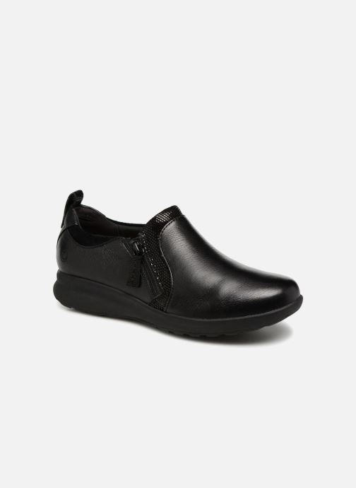 Baskets Clarks Unstructured Un Adorn Zip Noir vue détail/paire