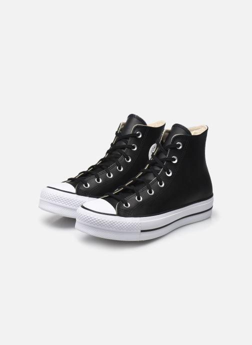 Sneaker Converse Chuck Taylor Lift Clean Hi schwarz ansicht von unten / tasche getragen