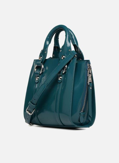 Handtaschen Guess REY LEATHER CROSSBODY TOP ZIP blau ansicht von rechts