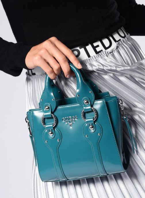 Handtaschen Guess REY LEATHER CROSSBODY TOP ZIP blau ansicht von oben
