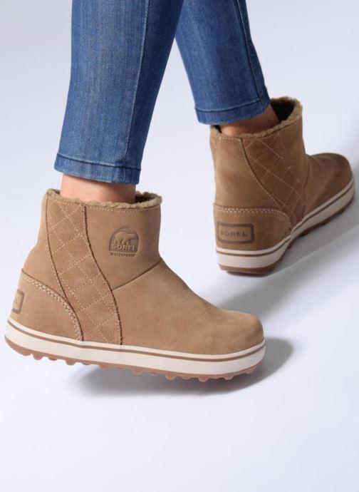 Bottines et boots Sorel Glacy Short Marron vue bas / vue portée sac