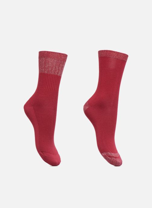 Socks & tights Dim Mi-Chaussette Coton Style Rayures Lurex Burgundy detailed view/ Pair view