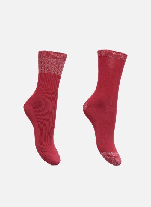 Sokken en panty's Dim Mi-Chaussette Coton Style Rayures Lurex Bordeaux detail