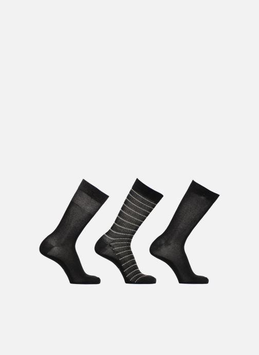 Sokken en panty's Dim Mi-Chaussette Coton Style Rayures mixtes Lot de 3 Zwart detail