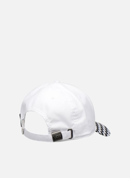 Casquettes Vans CHECKERBOARD MICKEY COURT SIDE HAT Blanc vue portées chaussures
