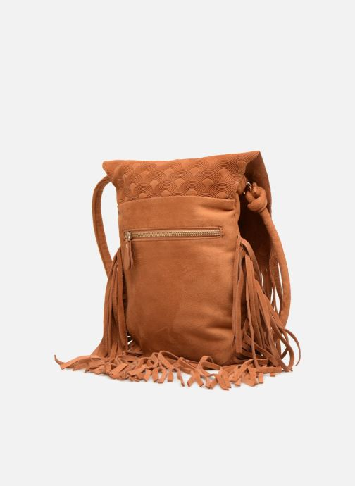 Sacs à main Street Level Suede embossed fringe bag Marron vue droite