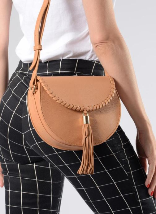 Handbags Street Level Cresent shaped w/tassel Beige view from underneath / model view