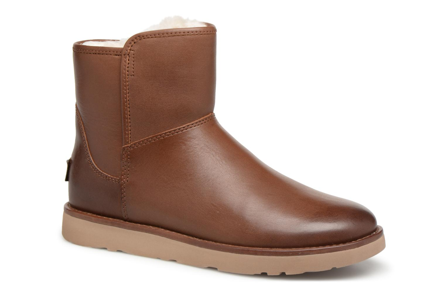 Bottes UGG W Abree Mini Leather Marron vue détail/paire