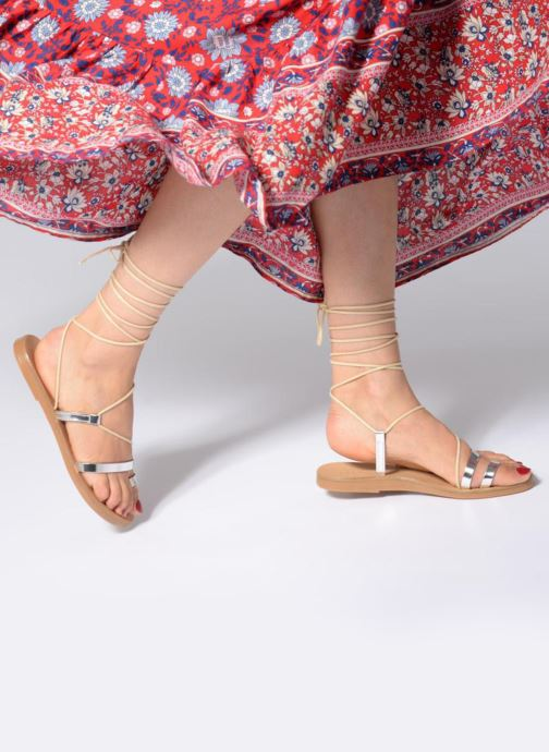 Sandals Pieces SANDALE METALLIC Silver view from underneath / model view