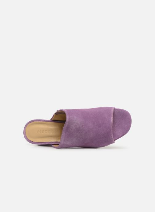 Mules & clogs Pieces MELA SUEDE MULE Purple view from the left