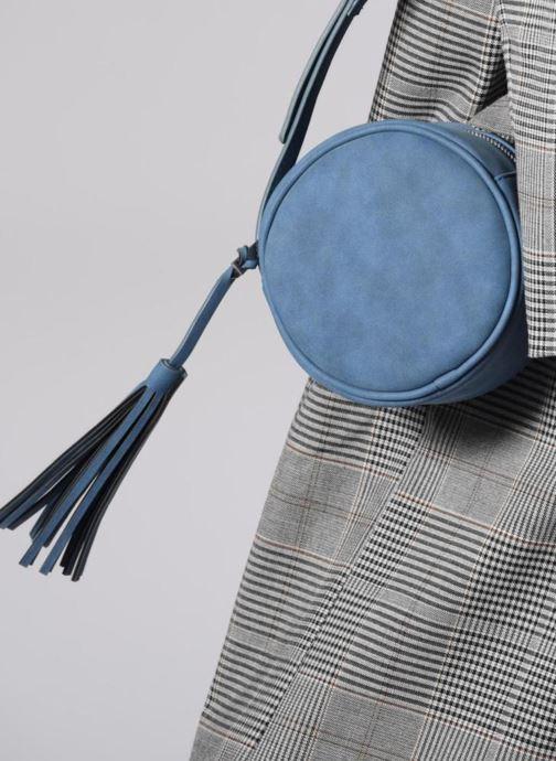 Bolsos de mano Pieces SUEDE OVAL BAG Azul vista de arriba