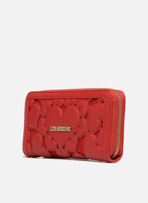 Petite Maroquinerie Love Moschino Portefeuille avec empiècements fantaisie rouge Rouge vue portées chaussures