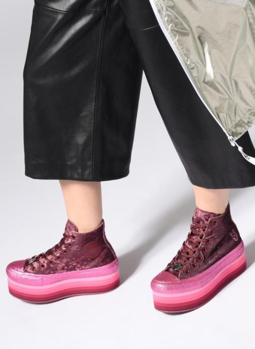 Trainers Converse Chuck Taylor All Star Platform Hi Dark Miley Cyrus Purple view from underneath / model view