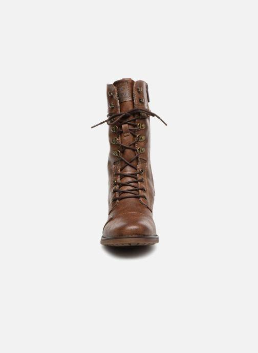 Bottes Mustang shoes Jena Marron vue portées chaussures
