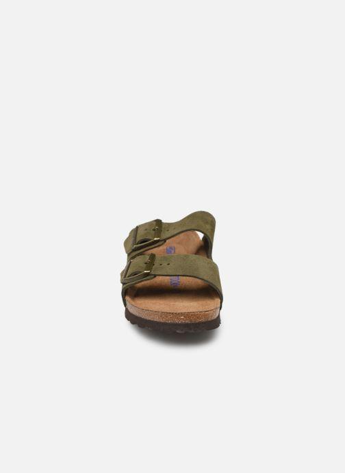 Clogs & Pantoletten Birkenstock Arizona Cuir Suede Soft Footbed W grün schuhe getragen