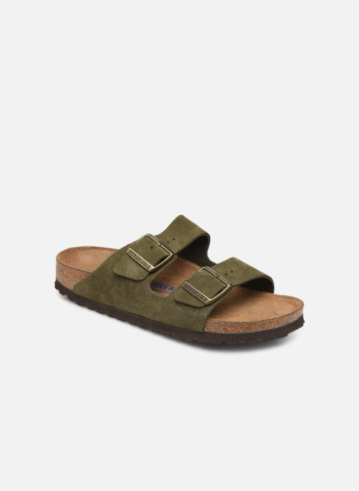 Mules et sabots Birkenstock Arizona Cuir Suede Soft Footbed W Vert vue détail/paire