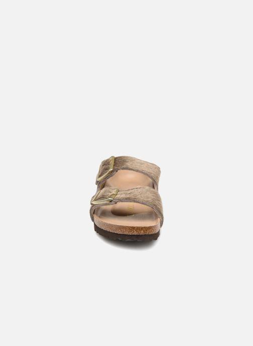 Clogs & Pantoletten Birkenstock Arizona Fourrure grau schuhe getragen