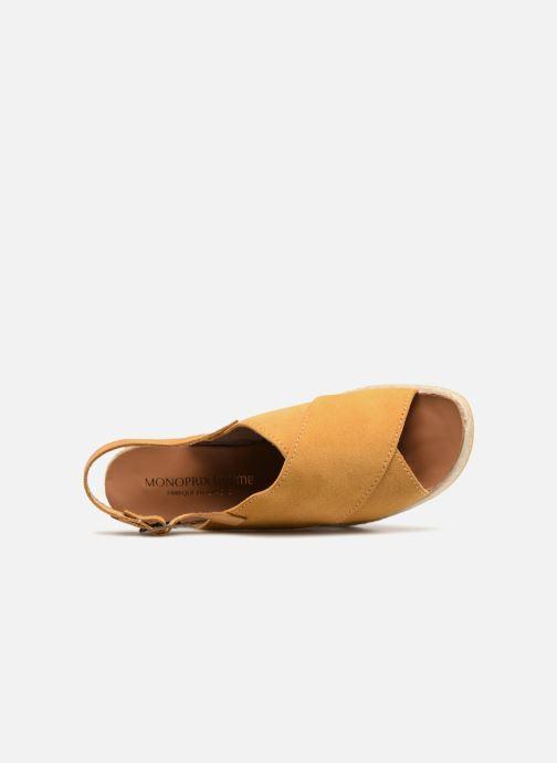 Sandali e scarpe aperte Monoprix Femme Sandales compensées Giallo immagine sinistra