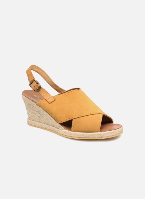 newest 1e4bc 2e5b3 Sandales et nu-pieds Monoprix Femme Sandales compensées Jaune vue  détail paire