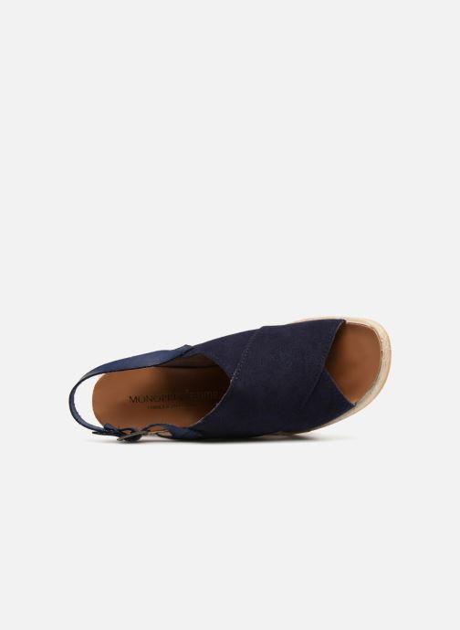Sandales et nu-pieds Monoprix Femme Sandales compensées Bleu vue gauche