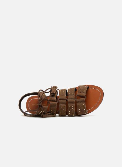 Sandales et nu-pieds Monoprix Femme Sandales à lacets cloutées Vert vue gauche