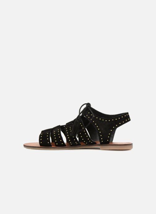 Sandales et nu-pieds Monoprix Femme Sandales à lacets cloutées Noir vue face