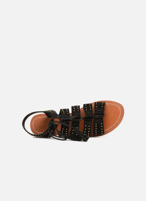 Sandales et nu-pieds Monoprix Femme Sandales à lacets cloutées Noir vue gauche