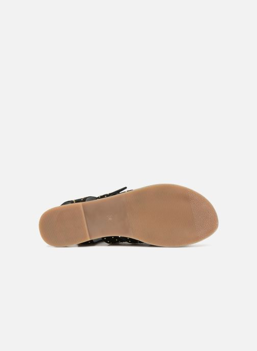 Sandales et nu-pieds Monoprix Femme Sandales à lacets cloutées Noir vue haut