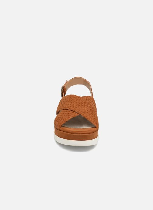 Sandales et nu-pieds Monoprix Femme Sandales à plateforme Marron vue portées chaussures