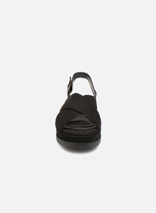 Sandales et nu-pieds Monoprix Femme Sandales à plateforme Noir vue portées chaussures