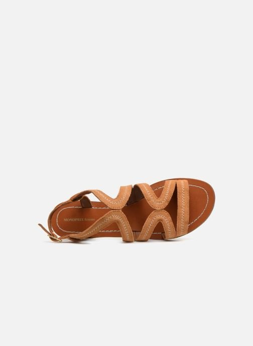 Sandals Monoprix Femme Sandales Brown view from the left