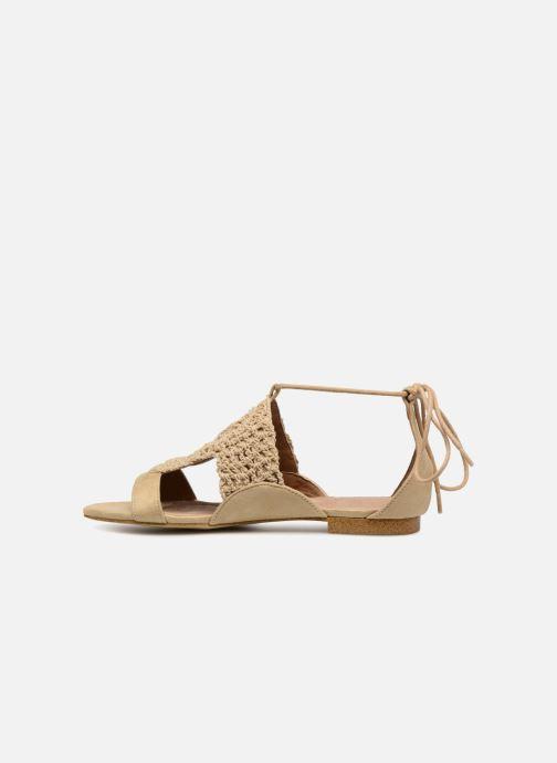 Sandales et nu-pieds Monoprix Femme Sandales texturées crochet Beige vue face
