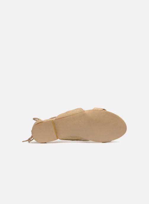 Sandales et nu-pieds Monoprix Femme Sandales texturées crochet Beige vue haut