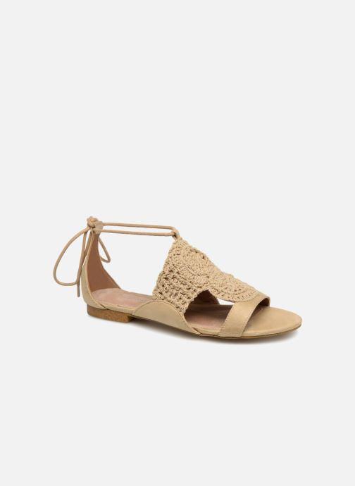 Sandales et nu-pieds Monoprix Femme Sandales texturées crochet Beige vue détail/paire