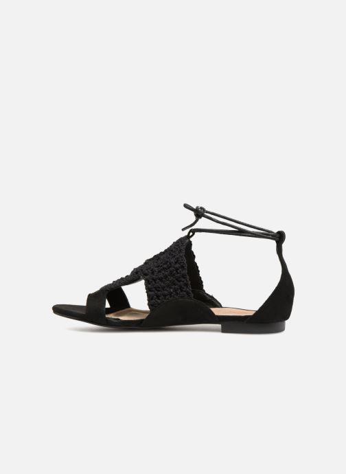 Sandales et nu-pieds Monoprix Femme Sandales texturées crochet Noir vue face