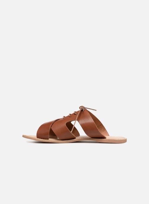 Zuecos Monoprix Femme Sandales à lacets en cuir Marrón vista de frente