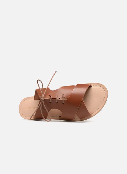 Mules et sabots Monoprix Femme Sandales à lacets en cuir Marron vue gauche