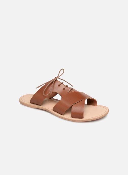 Clogs og træsko Monoprix Femme Sandales à lacets en cuir Brun detaljeret billede af skoene