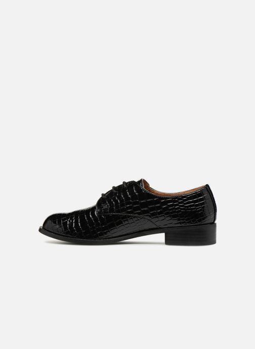Schnürschuhe Monoprix Femme Derby croco schwarz ansicht von vorne
