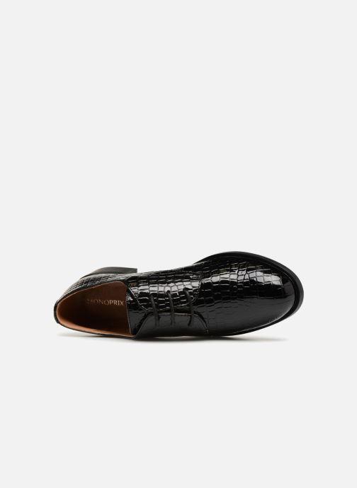 Schnürschuhe Monoprix Femme Derby croco schwarz ansicht von links