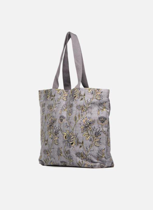 Sacs à main Monoprix Femme Tote-bag imprimé fleurs Violet vue portées chaussures